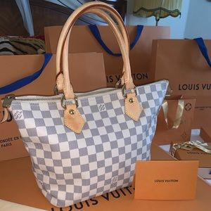 LOUIS VUITTON Saleya PM Damier Azur Leather Bag